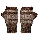 The Alpaca Collection, 100% Alpaca Wool Fingerless Gloves Brown/Lt Brown XS