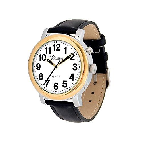 (VocaTime Mens BI-COLOR Talking Watch - Black Leather)