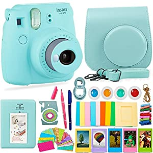 FujiFilm Instax Mini 9 Camera and Accessories Bundle - Instant Camera, Carrying Case, Color Filters, Photo Album, Stickers, Selfie Lens + MORE
