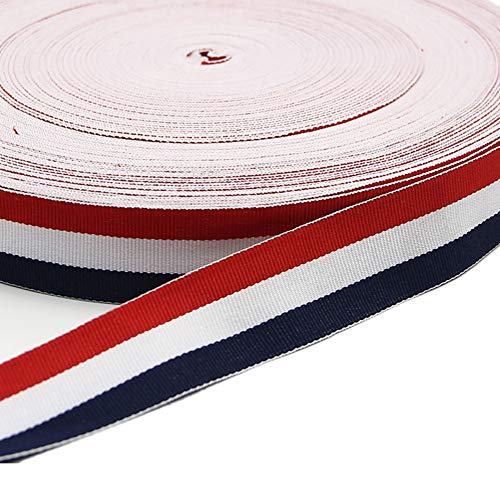 1 Inch Width Grosgrain Stripes Ribbon American Flag Patriotic Ribbon for Independence Day Party Decoration 50 Yards (Red White and Navy)