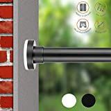 Black Shower Curtain Rod ALLZONE Spring Tension Shower Curtain Rod, Steel, No Drilling,Rust Free, 42-81'', Black