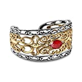 Carolyn Pollack Genuine .925 Sterling Silver Brass Red Coral Cuff Bracelet
