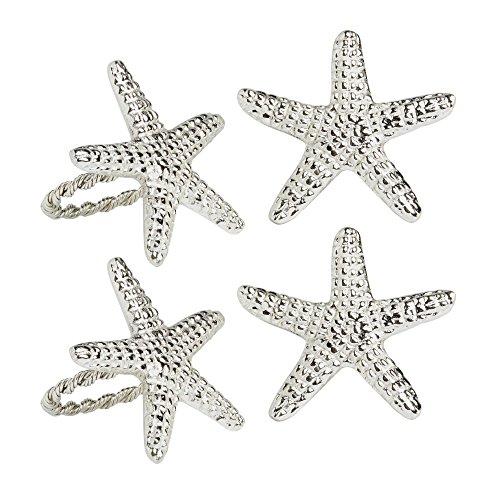Coastal Living Silver Starfish Metal Napkin Rings, Set of 4 ()