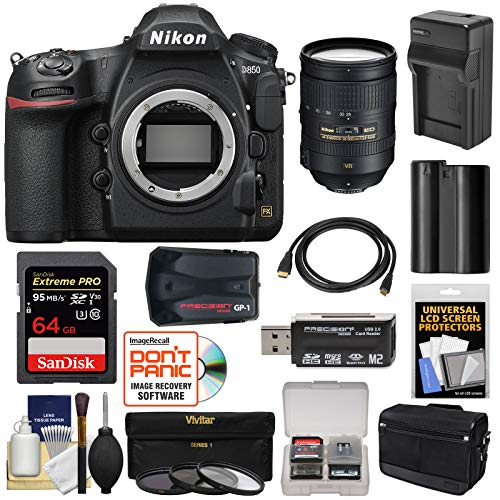 Nikon D850 Wi-Fi 4K Digital SLR Camera Body with 28-300mm VR Lens + 64GB Card + Battery & Charger + Case + GPS + 3 Filters Kit