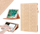 iPad Pro 10.5 Case, WWW [Luxury Laser Flower] Premium PU Leather Case Protective Cover with Auto Wake/Sleep Feature for iPad Pro 10.5 Gold