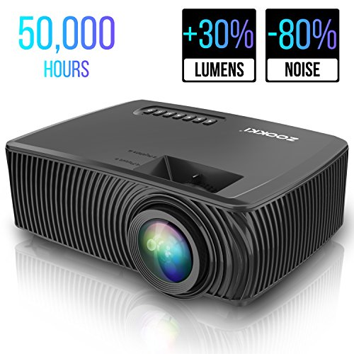 Mini LED Home Theater Projectors,ZOOKKI Multimedia Video Projector +30% Lumens for 360º Display, Support 1080P HDMI USB VGA AV TV Laptop Games(iPhone Android Smartphones) 210 Multi Leds