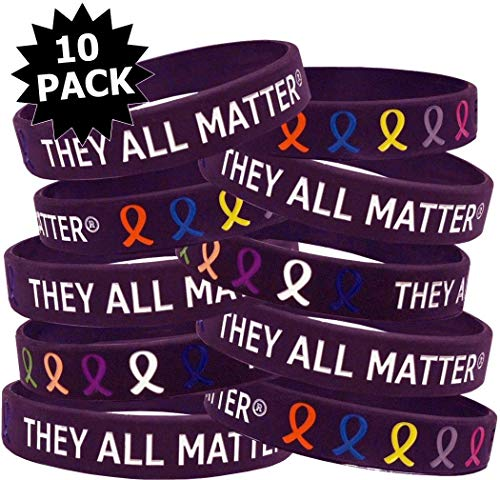 Fight Like a Girl They All Matter Silicone Wristband Bracelets, Individually Packaged, 10-Pack (BlackBerry)