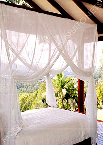 MOSQUITO NET BED CANOPY | QUEEN Size Bed Net | Easy Care machine washable cotton mosquito netting | Secure insect protection with the best quality designer mosquito net by MosquitoNets