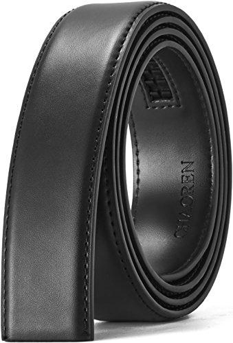 "Custom Match Fit (Leather Ratchet Belt Strap Only 1 3/8"", Men's Slide Belt without Buckle, Trim To Exact Fit, Big&Tall (Dress Black, 28-42'' Adjustable))"