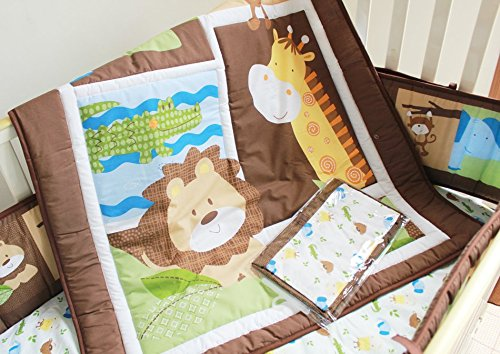 NAUGHTYBOSS Unisex Baby Bedding Set Cotton Primeval Forest Monkey Crocodile Animals Pattern Quilt Bumper Bedskirt Fitted Diaper Bag 8 Pieces Set by NAUGHTYBOSS (Image #2)