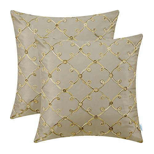 (CaliTime Pack of 2 Faux Silk Throw Pillow Covers Cases for Sofa Couch Home Decoration 18 X 18 Inches Gradient Trellis Geometric Chain Embroidered Taupe)