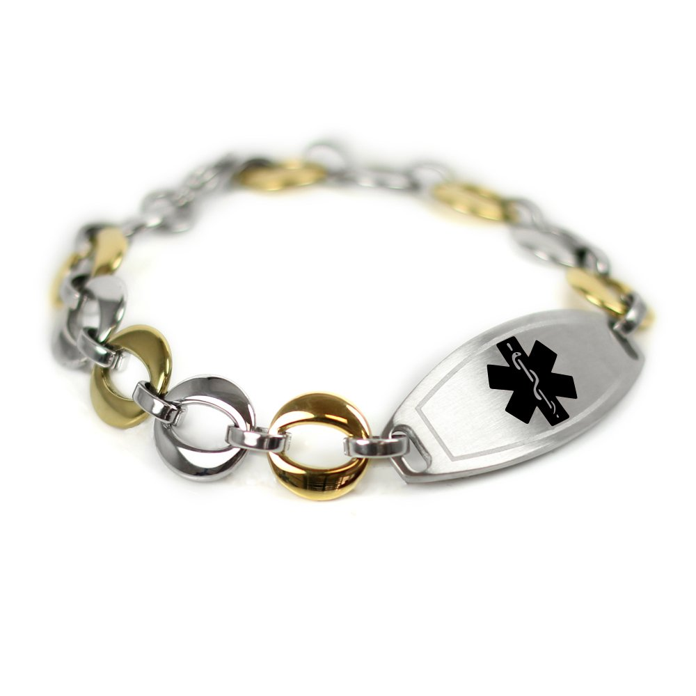 My Identity Doctor - Medical ID Bracelet Custom Engraved, 1.5cm Gold Tone Steel Links - Black | Made in USA by My Identity Doctor