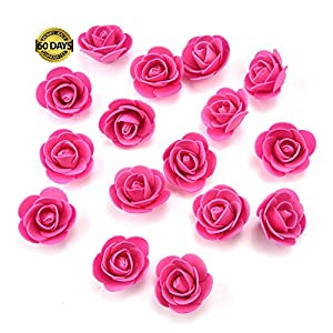Silk Flowers in Bulk Wholesale Mini PE Foam Rose Flower Head Artificial Rose Flowers Handmade DIY Wedding Home Decoration Festive & Party Supplies 50pcs/lot 3cm (Rose red) 46
