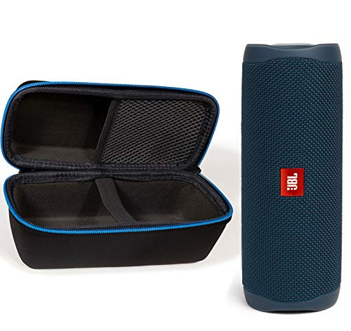 JBL Flip 5 Waterproof Portable Wireless Bluetooth Speaker Bundle with divvi! Protective Hardshell Case – Blue