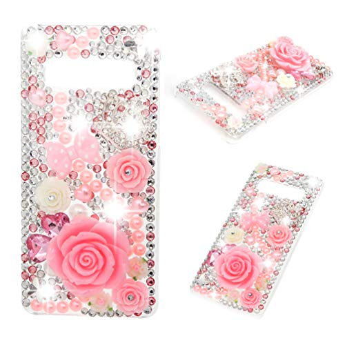 Galaxy S10 Plus Case - Mavis's Diary 3D Handmade Crystal Clear Bling Diamonds Shiny Rhinestone Pearl Pink Soft Peach Blossom Hard PC Cover for Samsung Galaxy S10 Plus