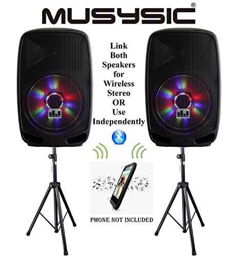 (Pair (2 Pcs) of MUSYSIC Professional 4000W Power Stereo 15