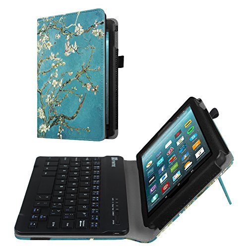 7 Tablet Folio (Fintie Folio Keyboard Case for All-New Amazon Fire 7 (7th Generation, 2017 Release), Slim Fit PU Leather Stand Cover with All-ABS Hard Material Removable Wireless Bluetooth Keyboard, Blossom)