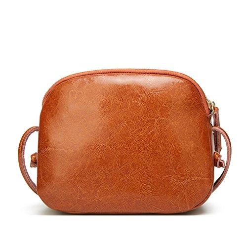 Bags Brown Zipper Fashion Women shoulder Bag Single Crossbody PU Handbag Girl Retro Messenger Pure Color q6CFvp