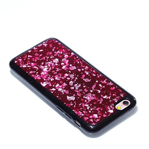 Carcasa iPhone 6/iPhone 6s Apple, EUWLY Funda iPhone 6/iPhone 6s Silicona Elegante Moda Lujo Alta Calidad Suave Negro TPU Silicona Funda Glitter Brillante Estrellas Bling Brillo Pentagram Diseño Coagu Rojo