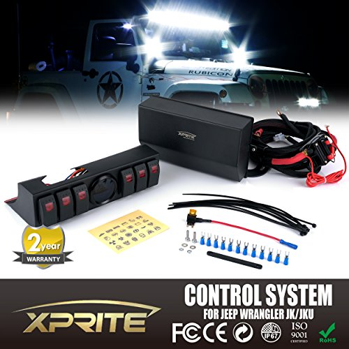 Xprite 6 Rocker Switches Panel Control System Assemblies W/ Wiring Harness & Voltage Display For 2007 - 2016 Jeep Wrangler