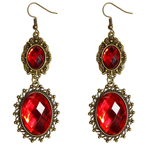 Gothic Costumes - RareLove Lolita Red Rhinestone Teardrop Chandelier Dangle Earrings