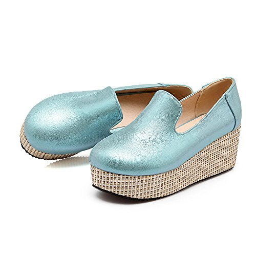 AmoonyFashion Womens Round Closed Toe Kitten Heels Pull On Pumps-Shoes Blue xkmY1z2l