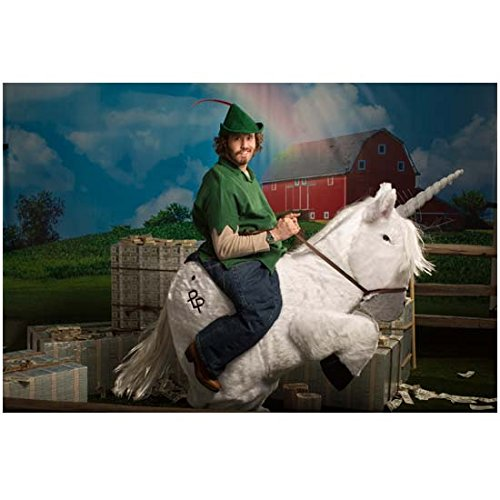 Veep Costume (Silicon Valley T.J. Miller as Erlich Bachman in Peter Pan costume riding unicorn 8 x 10 Inch Photo)
