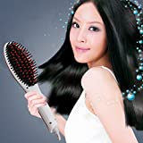 Ocathnon Magic Electric Hair Brush Faster Straightening Styling Comb Digital Anti Static Ceramic Hair Straightener Heating Detangling Hair Brush Paddle Brush,White