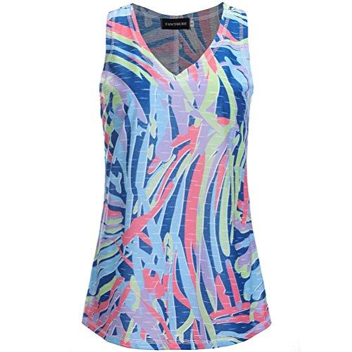 Dbardeurs Fathoi T Manches t Haut Femmes Summer Shirt 2018 imprim Dcontract Gilet Sans Multicolore Woman Chemisier Top qwTOxqHR