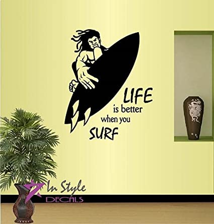 Wall Vinyl Decal Home Decor Art Sticker Life is Better When You Surf Phrase Quote Surfer