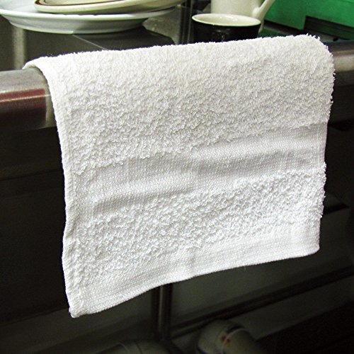 GHP 240-Pcs 12''x12'' White Industrial Grade Cotton Blend Terry Cloth Shop Rag Towels by Globe House Products