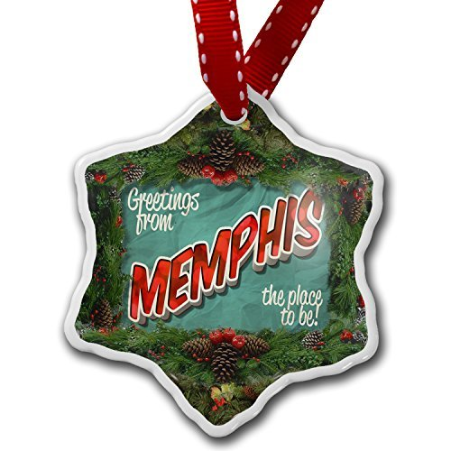 - pansy Funny Christmas Ornaments for Kids Greetings From Memphis Vintage Postcard Holiday Xmas Tree Ornaments Decoration Gifts