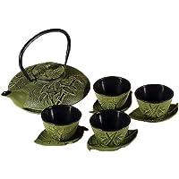 Serwis do herbaty z żeliwa, bambusa, żeliwa, zestaw do serwowania – bambus, zielony.