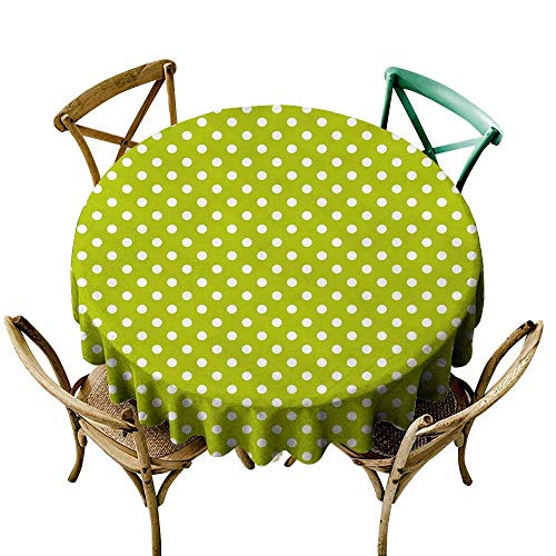 Yellow Tablecloth 48 inch Retro,Vintage Old Fashioned 60s 70s Inspired Polka Dots Pop Art Style Art Print,Lime Green and White Polyester Fabric Table ()