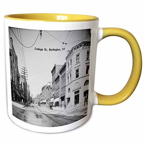 3dRose Sandy Mertens Vermont - Church St., Looking North From College St., Burlington, VT (Vintage to 1906) - 11oz Two-Tone Yellow Mug - Vt Church St Burlington