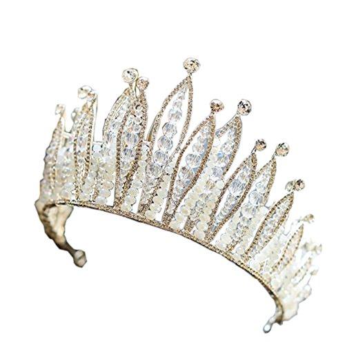 (Bride Hair Jewelry Handmade Beaded Crystal Tiara Sweet Princess Crown Wedding Hair)