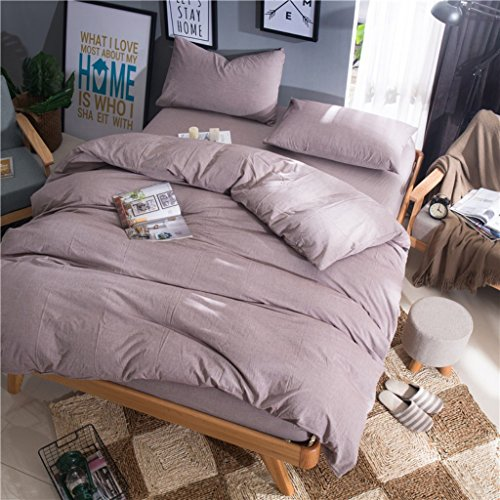 Haru Homie Luxurious 100% Egyptian Washed Cotton Duvet Cover 3pc Solid Color Bedding Set with Zipper Closure - Super Soft, Breathable, Fade Resistant and Extremely Durable (Queen, Pale Mauve)