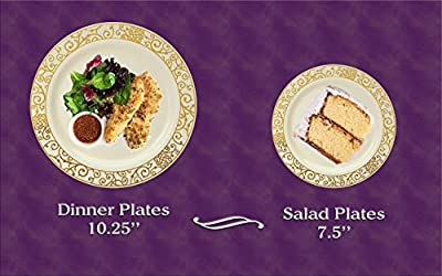 Venetian Collection Elegant Fine China-look Disposable Round Plates Dinnerware Plate Set For Fine Dining, Parties and Events - Heavyweight Disposable Paper Dinner and Side Plates (Set of 40)