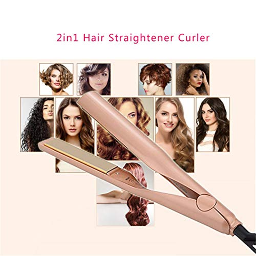 New Twisted Straightening Iron, 300 F to 450 F, 2 in 1 Hair Straightener and Curling Iron, Ceramic Titanium Plate Heating Gold