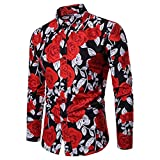 Clearance Sale Mens Button Down Shirts vermers Men Fashion Flower Printed Blouse Casual Long Sleeve Slim Shirts Tops(2XL, Black)