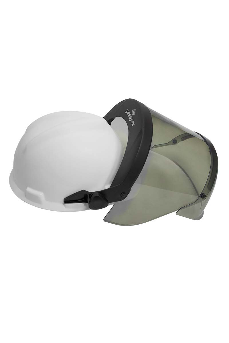 National Safety Apparel H12HTHAT PureView 12 Cal Face Shield with Slotted Adapter and Hard Hat, Highly Transparent, Polycarbonate, One Size, Translucent