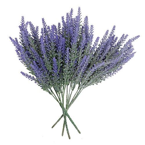 Houseables Artificial Lavender Flower, Purple, 4 Bundles, Plastic, Fake Flowers, Faux Stems, Flocked Lavendar Sprigs, Floral Arrangement Bouquet, Plant Wreath Home Decor, Realistic, Plants Decorations