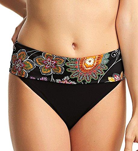 Fantasie Kerala Classic Fold-Over Bikini Bottom, S, Black Floral (Bikini Wide Waistband Bottom)