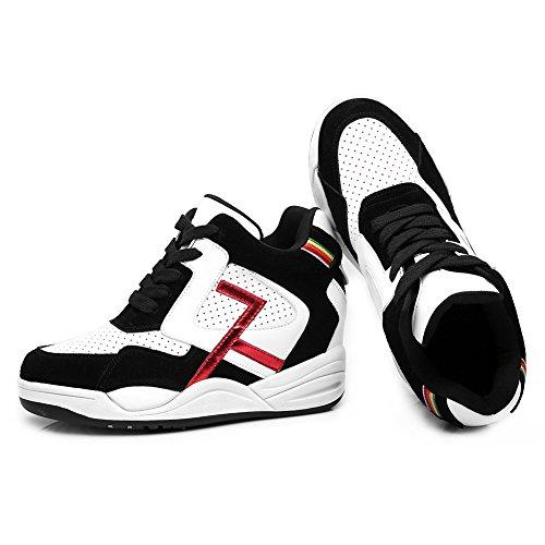 Shenn Mujer Cordones Cuña Tobillo Alto Casual Cuero Zapatillas Zapatos Negro&Blanco