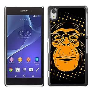 CaseLord Carcasa Funda Case - Sony Xperia Z2 / Funny Hipster Chimp Monkey /