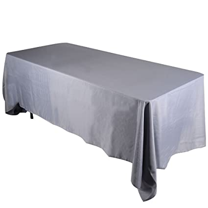 Fuzzy Fabric 70 X 120 Inch Rectangular Polyester Silver Linen Tablecloth  Great For Buffet Table,