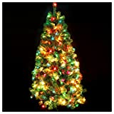 CASA CLAUSI Christmas Tree 6 Feet Pre-lit Multi-Colored Lights Artificial Green Madison Pine Tree