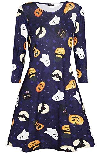 Be Jealous Womens Halloween Ghost Pumpkin Fancy Swing Dress Happy Ghost & Pumkin Plus Size XXXL (US -