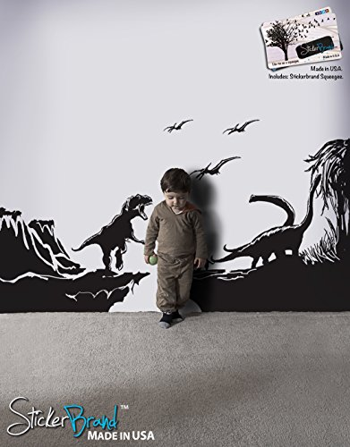 T-rex Wallpaper (Dinosaur World Wall Decal Vinyl Wall Art Sticker T-Rex by Stickerbrand - Black, 42