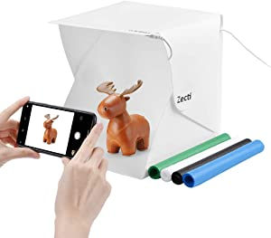 Zecti Mini Photo Studio Light Box, 20cm x 20cm/9.4 x 9.4 Inch Photo Shooting Tent kit, Light Tent with 4 Kinds Color Backdrop for Smartphone and DSLR Photo Tent for Photography